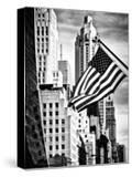 Architecture and Buildings  Skyscrapers View  American Flag  Midtown Manhattan  NYC  USA
