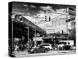 Urban Scene  Coney Island Av and Subway Station  Brooklyn  Ny  US  USA  Black and White Photography