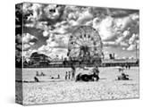 Vintage Beach  Black and White Photography  Wonder Wheel  Coney Island  Brooklyn  New York  US