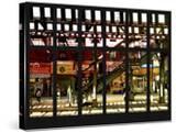 Window View - Urban Street Scene - Marcy Avenue Subway Station - Williamsburg - Brooklyn - NYC