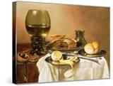 Breakfast Still Life with Roemer  Meat Pie  Lemon and Bread  1640