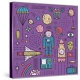 Space Planets Stars Cosmonaut Design Elements Colored Line Art Collection Cosmic Objects Designer