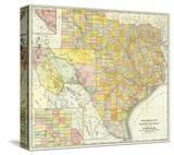 Railroad And County Map Of Texas  c1882