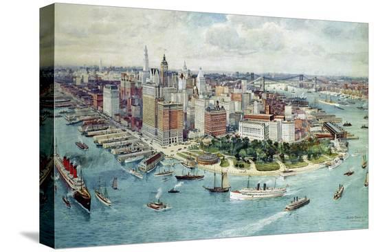 richard-rummell-a-bird-s-eye-view-of-lower-manhattan-1911