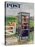 """""""Cub Scouts in Phone Booth """" Saturday Evening Post Cover  August 26  1961"""
