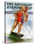 """""""Ski Boarding Couple """" Saturday Evening Post Cover  June 27  1936"""
