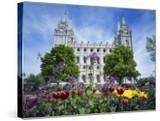 View of Lds Temple with Flowers in Foreground  Salt Lake City  Utah  USA