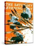 """""""Ski Jumpers """" Saturday Evening Post Cover  February 26  1938"""