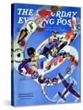 """Squadron Insignia "" Saturday Evening Post Cover  August 23  1941"