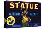 Statue California Bartletts Pear Fruit Crate Label