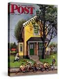 """Baseball Player Mowing the Lawn "" Saturday Evening Post Cover  July 20  1946"