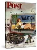 """Billboard Painters in Winter "" Saturday Evening Post Cover  February 14  1948"
