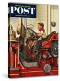 """""""Boy on Fire Truck"""" Saturday Evening Post Cover  November 14  1953"""
