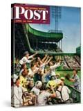 """""""Catching Home Run Ball"""" Saturday Evening Post Cover  April 22  1950"""