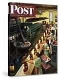 """Chocolate Easter Bunnies"" Saturday Evening Post Cover  March 25  1950"
