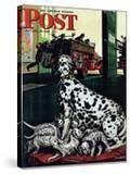 """Dalmatian and Pups "" Saturday Evening Post Cover  January 13  1945"