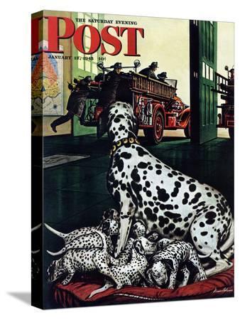 stevan-dohanos-dalmatian-and-pups-saturday-evening-post-cover-january-13-1945