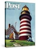 """Lighthouse Keeper "" Saturday Evening Post Cover  September 22  1945"