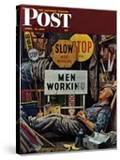 """Men Working "" Saturday Evening Post Cover  April 12  1947"
