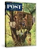 """""""No Girls Allowed"""" Saturday Evening Post Cover  August 9  1952"""