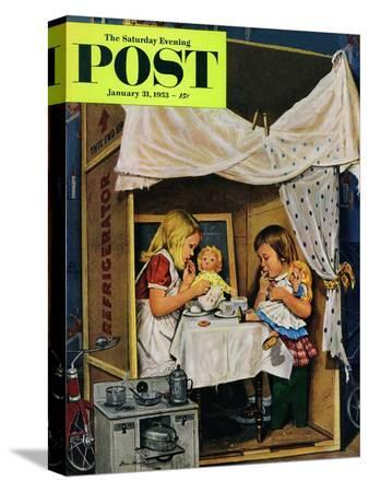 stevan-dohanos-playing-house-saturday-evening-post-cover-january-31-1953