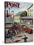 """Small Town Fire Company "" Saturday Evening Post Cover  May 14  1949"