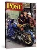 """""""Tex's Motorcycle"""" Saturday Evening Post Cover  April 7  1951"""