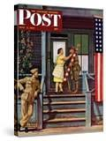 """Two Generations of Vets "" Saturday Evening Post Cover  July 5  1947"