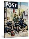 """""""Working on the Jalopy"""" Saturday Evening Post Cover  May 20  1950"""