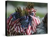 An Army Soldier's Backpack Overflows with Small American Flags