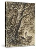 L'heureux moment : couple nu  debout  enlacé sous des grands arbres