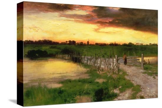 thomas-moran-the-old-bridge-over-hook-pond-1907