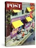 """Bicycle Tricks"" Saturday Evening Post Cover  June 18  1955"