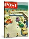 """""""Flat Tire at the Beach"""" Saturday Evening Post Cover  July 23  1955"""