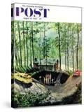 """""""Visitors to Cabin in the Woods"""" Saturday Evening Post Cover  August 23  1958"""
