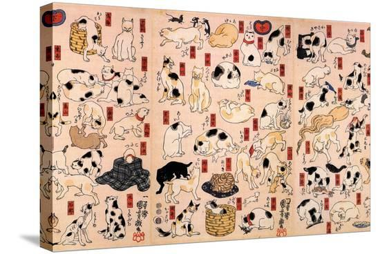 utagawa-kuniyoshi-cats-from-the-series-fifty-three-stations-of-the-tokaido-triptyc-ca-1848