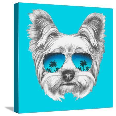 victoria-novak-portrait-of-yorkshire-terrier-dog-with-mirror-sunglasses-hand-drawn-illustration