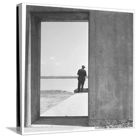 walker-evans-section-of-twelve-foot-three-mile-concrete-wall-with-bulkhead-opening