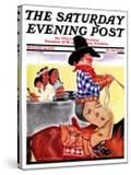 """""""Modern Indians and Dude """" Saturday Evening Post Cover  August 14  1937"""