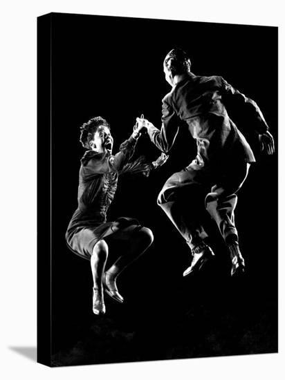 Professional Dancers Willa Mae Ricker and Leon James Show Off the Lindy Hop-Gjon Mili-Stretched Canvas Print