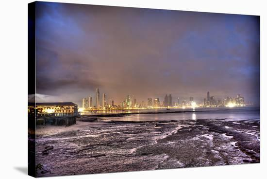 Purple Sunset Tide Pools, gold Skyline-Nish Nalbandian-Stretched Canvas Print