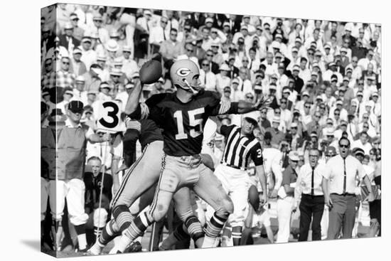 Quarterback Bart Starr of Green Bay Packers at Super Bowl I, Los Angeles, CA, January 15, 1967-Art Rickerby-Stretched Canvas Print