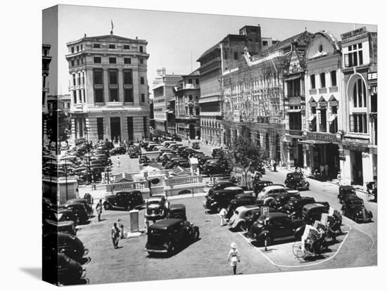 Raffles Square in Singapore-Carl Mydans-Stretched Canvas Print