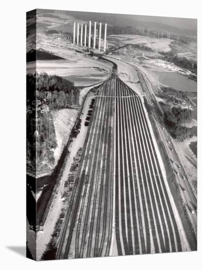 Railroad Tracks Leading to World's Biggest Coal-Fueled Generating Plant, under Construction by TVA-Margaret Bourke-White-Stretched Canvas Print