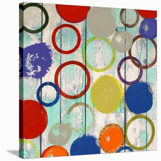 Rainbow Circles I-Yashna-Stretched Canvas Print