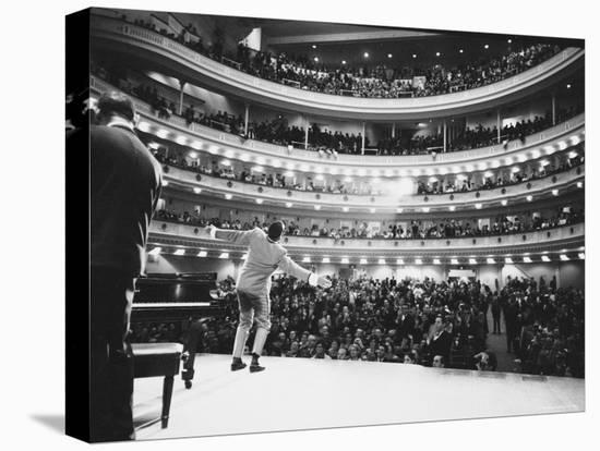 Ray Charles Singing, with Arms Outstretched, During Performance at Carnegie Hall-Bill Ray-Stretched Canvas Print