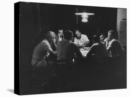 Realtor Brothers Frank Mackle and Elliott Mackle Playing Poker--Stretched Canvas Print