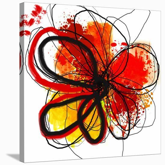 Red Abstract Brush Splash Flower I-Irena Orlov-Stretched Canvas Print