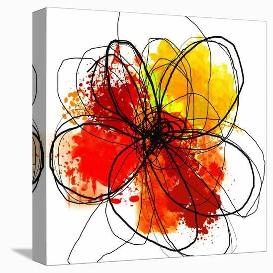 Red Abstract Brush Splash Flower II-Irena Orlov-Stretched Canvas Print