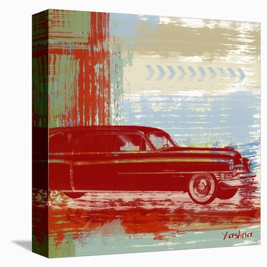 Red Abstract Car-Yashna-Stretched Canvas Print